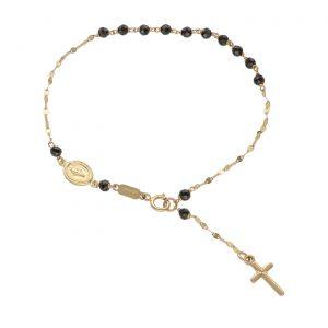 Bracciale rosario in Oro giallo e Spinello nero